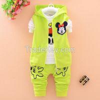 unisex baby clothes 2015 New design high quality 3pcs 100% coton children clothing set
