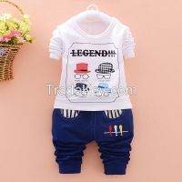 newest design boy 2pcs cotton long sleeve T-shirt and trousers kids clothes cheap