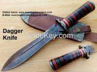 Custom Made Damascus Dagger knife