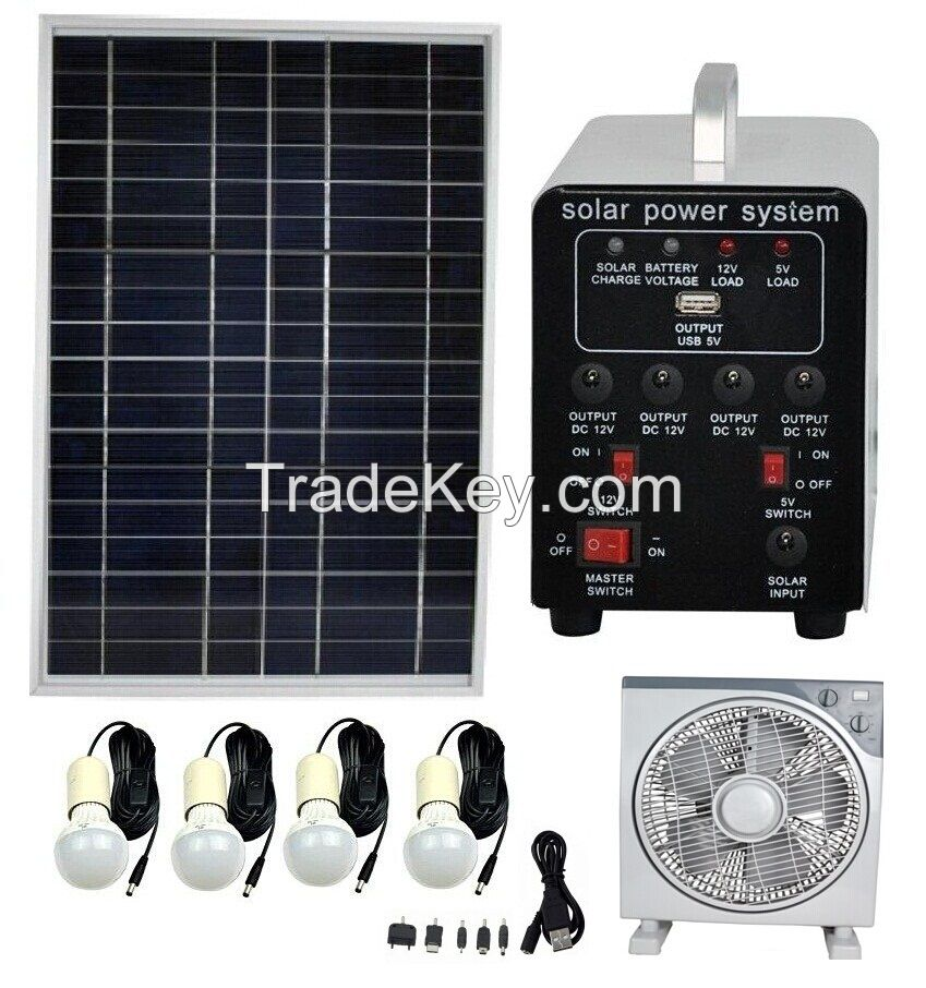 25W Solar Power Systems with 4 Lamps and 1 Fan (FS-S904)