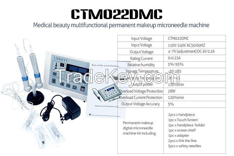 Permanent makeup eyebrow tattoo machine kit with two tattoo gun