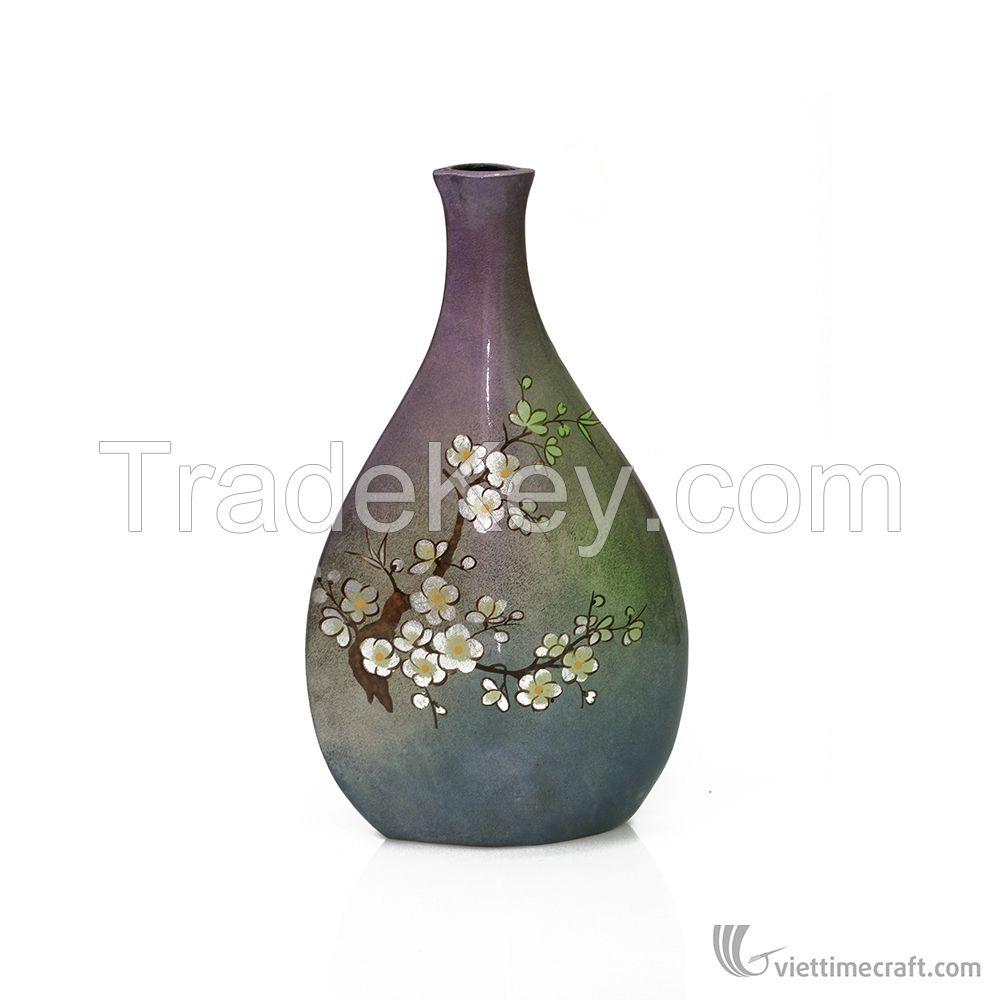 Shiny decorrative ceramic lacquer vase, 100% made in Vietnam,