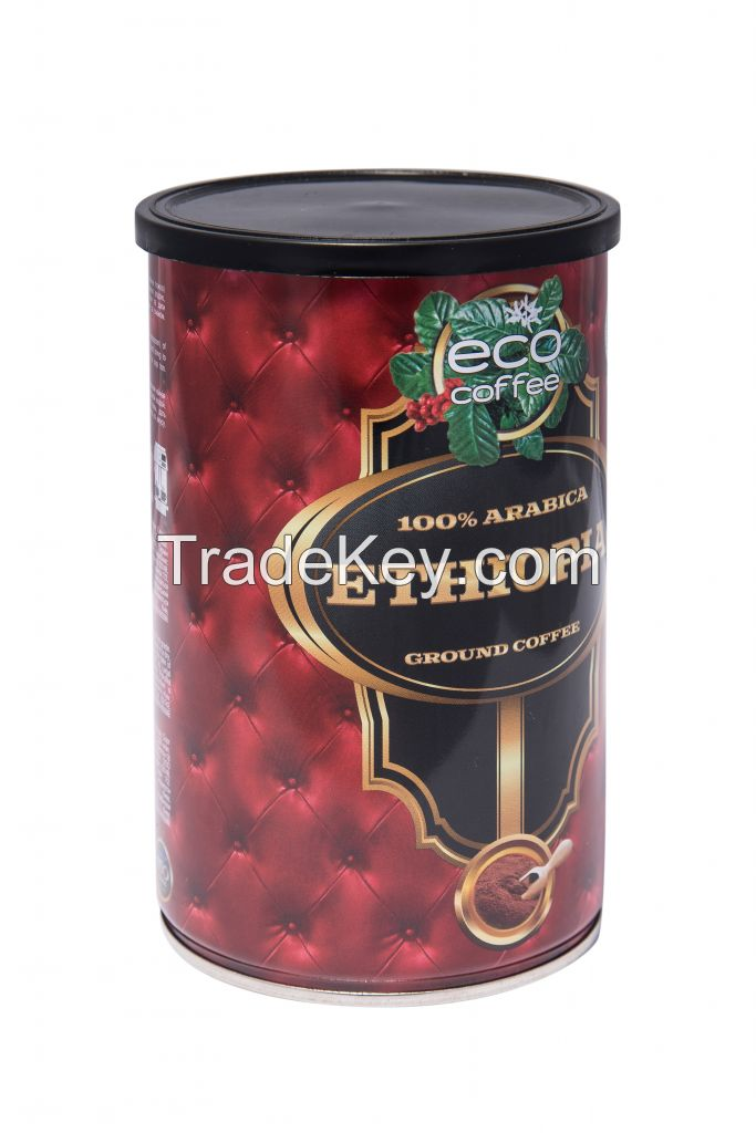 Ground coffee in tins