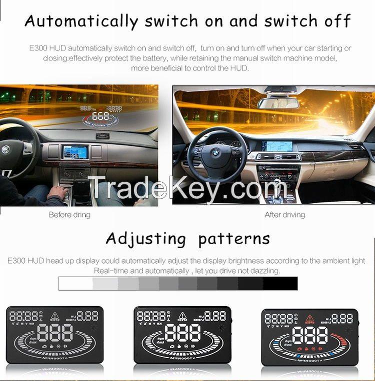 2016 Latest 5.5 Inch E300 HUD Multi-color LED Car Head Up Display Car Universal Car HUD Display OBD II Universal
