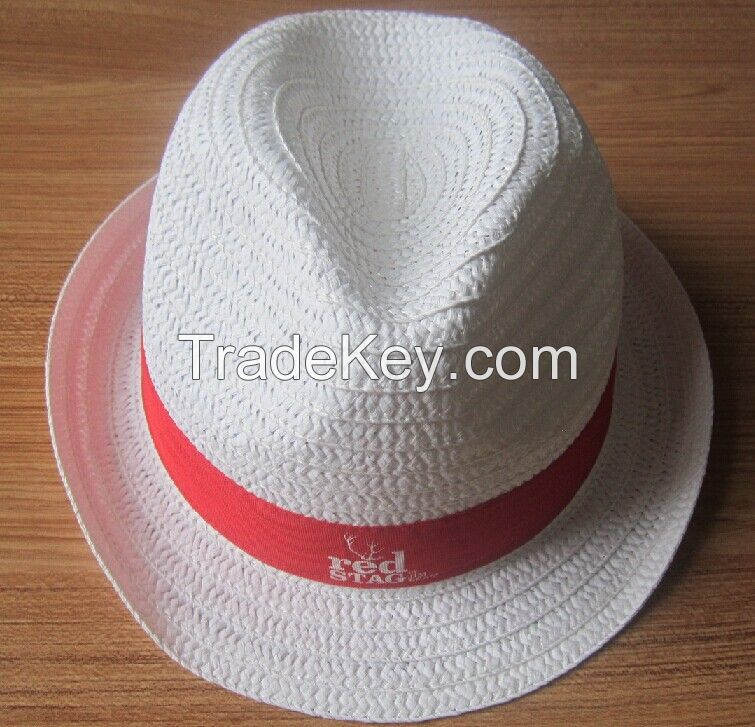fashion paper straw fedora hat