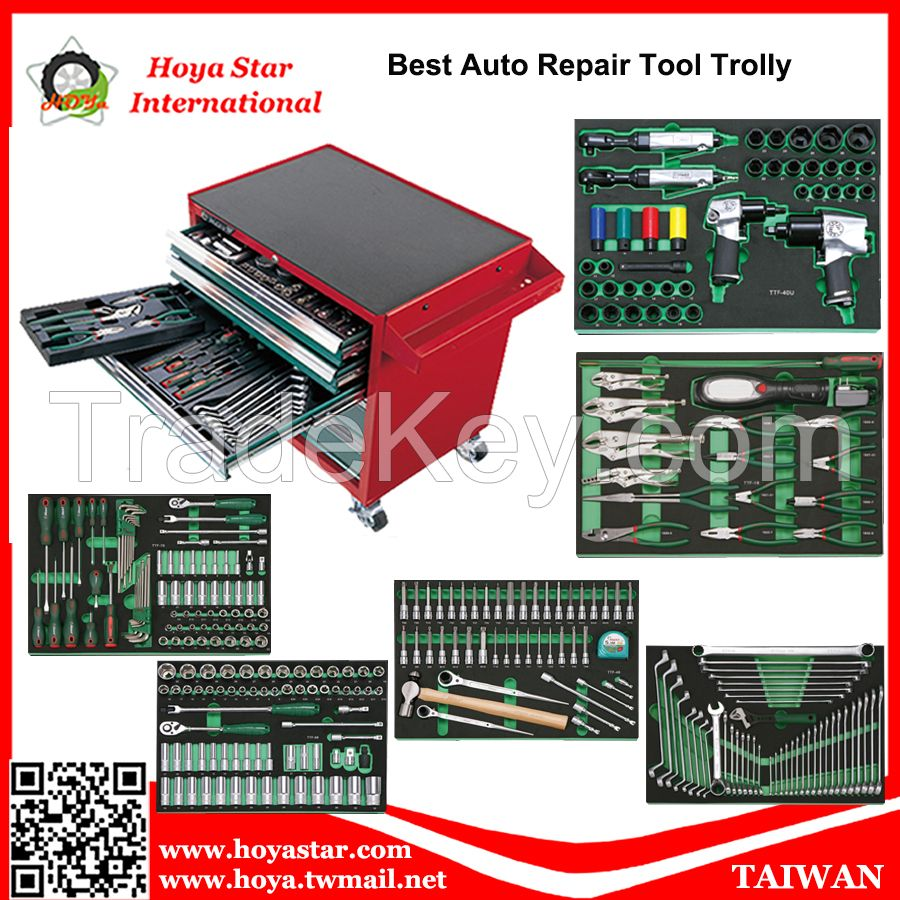 292PCS SOCKET, SPANNER, WRENCH, PLIER, SCREWDRIVER, HAMMER TOOLS TROLLEY STORAGE TOOL CABINET TOOL CHEST