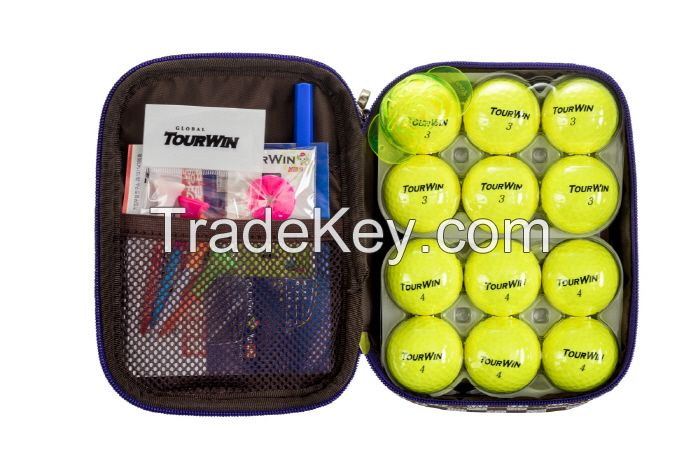 long distance color golf ball and pouch set made in Korea