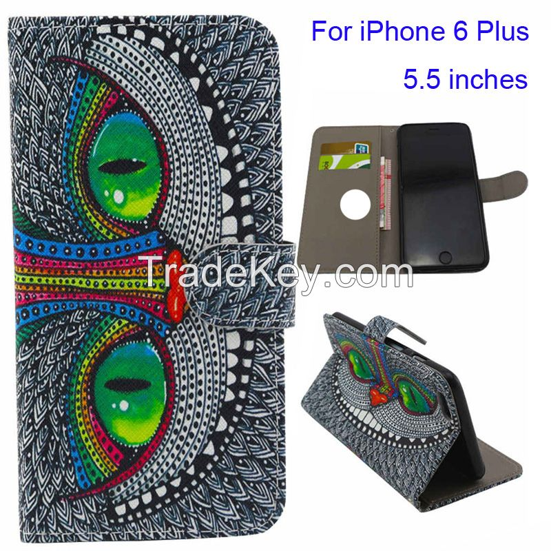 Painting Luxury PU Leather Card Slot Cover Case Wallet For iPhone 6 6G 4.7 INCH (Color: Multicolor)