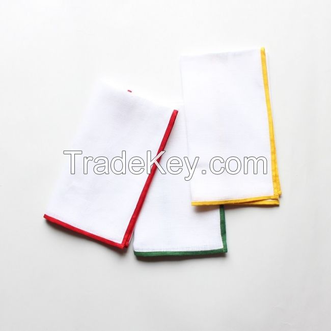 White Linen Dinner Napkin With Red Or Green Or Yellow Color Border