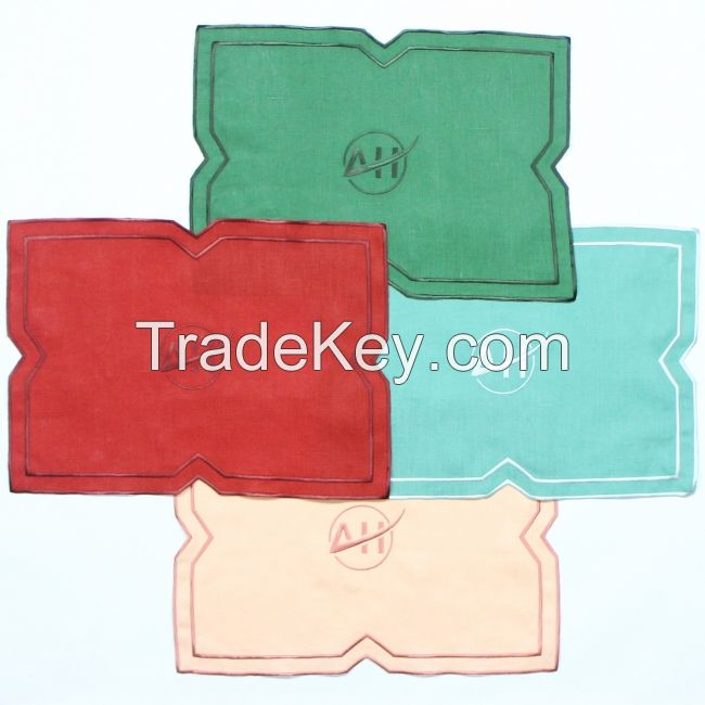 Custom Logo Embroidered Edge Placemat Or Napkin