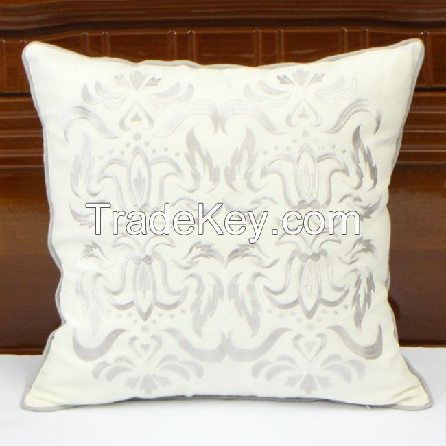 Abstract Baroque Pattern Embroidered Cushion Cover