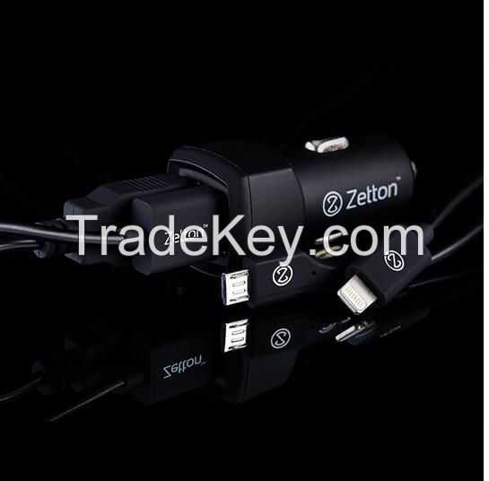 zetton hot sale In-Car charger 3.1A + 2USB + 2 Cables for smartphones and ipad