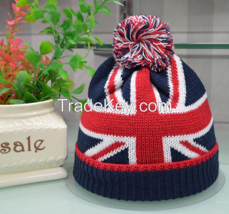knit USA flag beanie skull ski pom pom hats