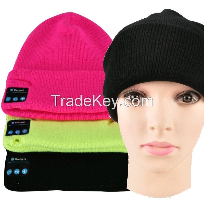 Wholesale Fabric Bluetooth Beanie Hat With Headphone Smart Bluetooth Beanie Music Knitted Hat Winter MP3 Women / Men Cap