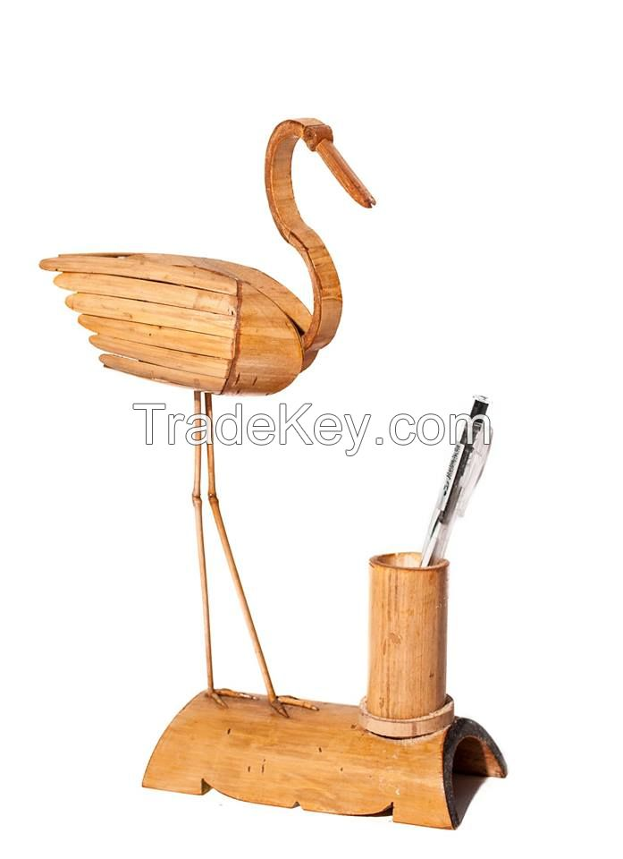 handmade items in coconut shell and bamboo sticks