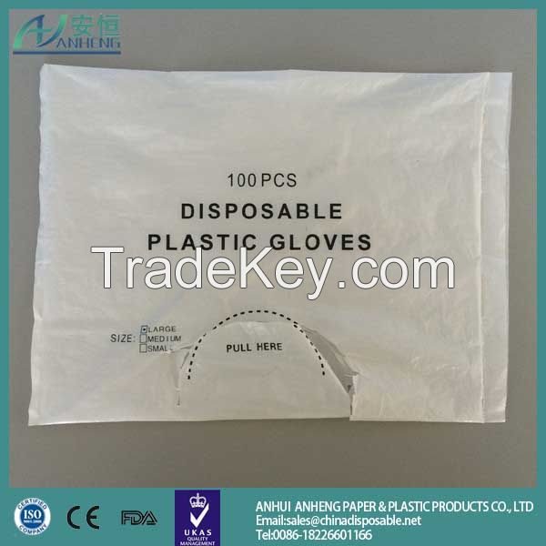 New design plastic medical glove with high quality