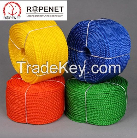 3 Strand PP Polypropylene Monofilament / Multifilament Twist Rope, PP Mono / Multi Rope for Sale