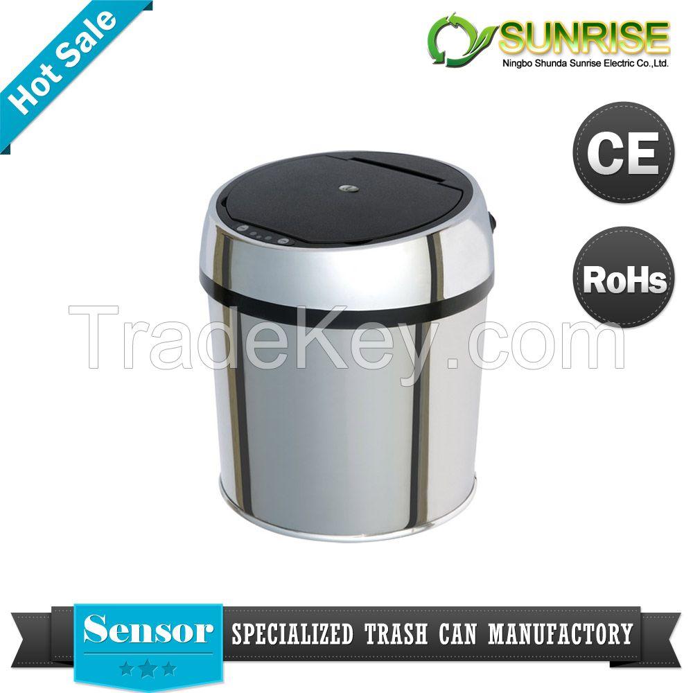 sensor stainless steel round waste bin