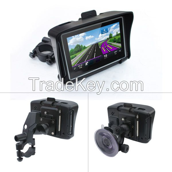 4.3 inch HD 8GB Internal waterproof IPX7 Bluetooth GPS navigator motorcycle + Windows CE 6.0+ Free Maps