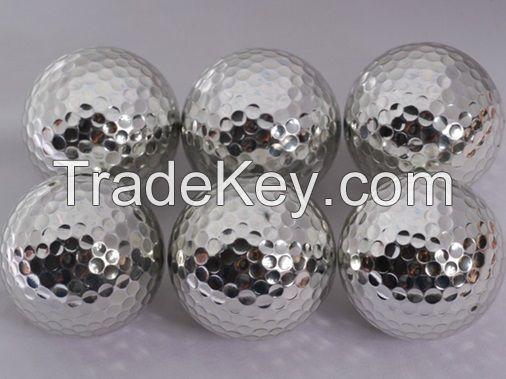 Silver metal golf ball