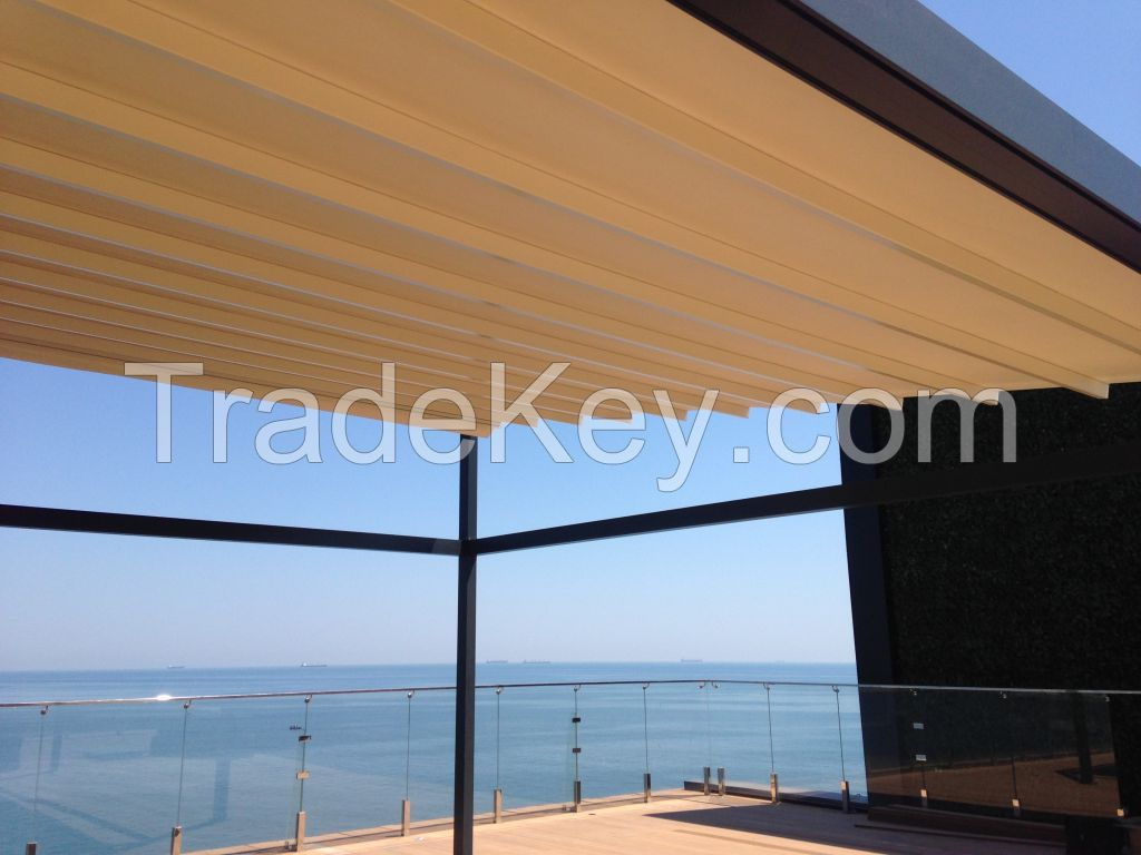 Aluminum Pergola awning M-OCEAN with automatic PVC roof