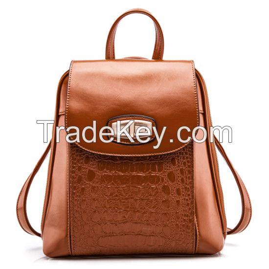 New Arrivals Vintage Lady Backpack Alligator Pattern Leather Portable School Bag