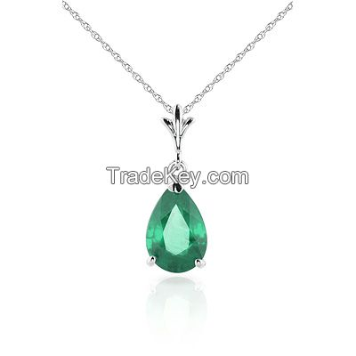 9ct White Gold Belle Necklace with 1.0ct Emerald Pendant