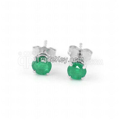 9ct White Gold 0.95ct Emerald Classic Stud Earrings