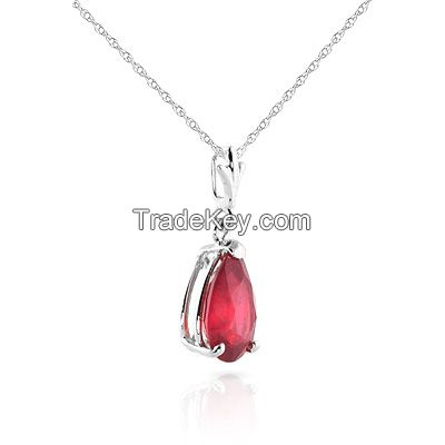 9ct White Gold Belle Necklace with 1.75ct Ruby Pendant
