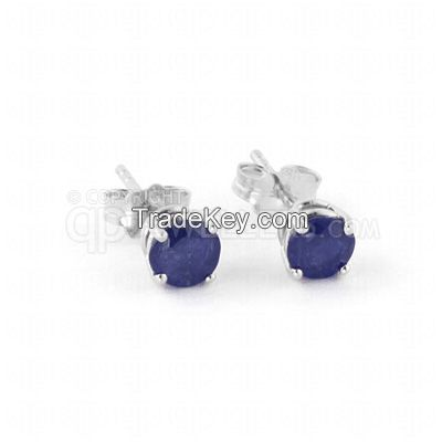 9ct White Gold 0.95ct Sapphire Classic Stud Earrings