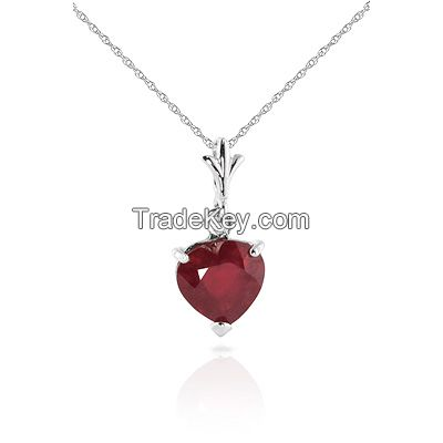 9ct White Gold Heart Necklace with 1.45ct Ruby Pendant
