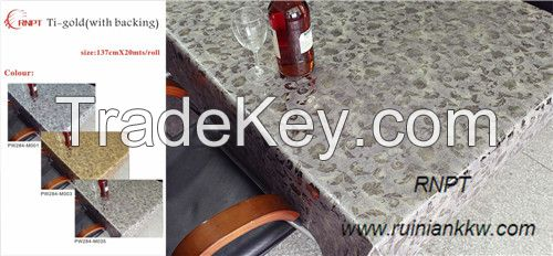 Anti-slip, water -proof, openhanded Ti-gold table cloth, popular in South America