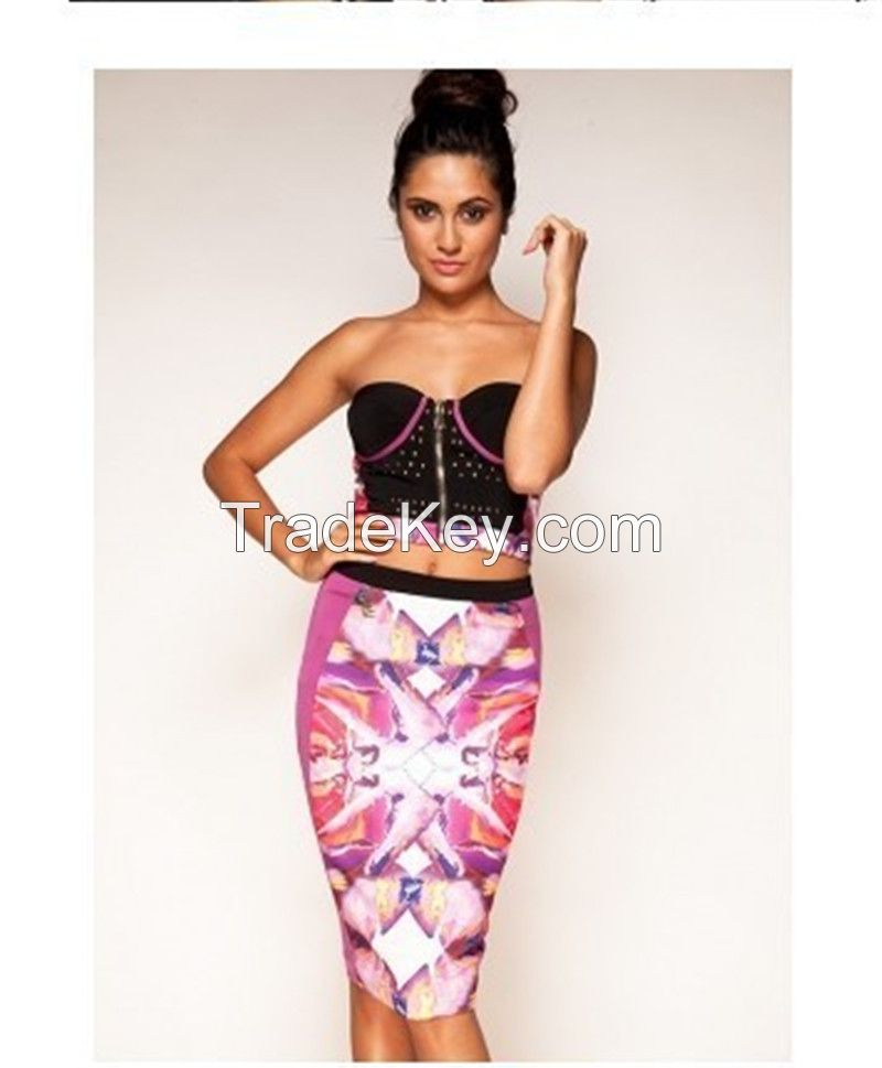 Two Pieces Hot Sale Supplier Slim Sexy Bandege Dresses Prom Dresses