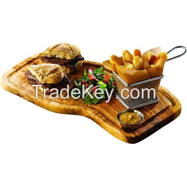 Olive Wood Rustic Breakfast Plate