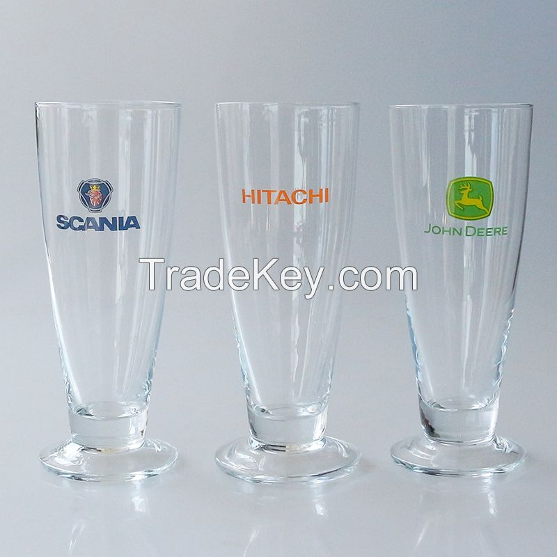 2015 manufacture customized logo decal tall open wide mouth beer pub bar glass