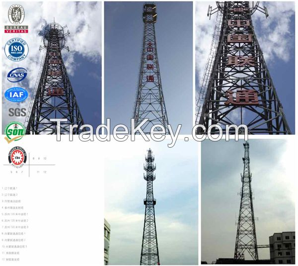 Steel telecommunication antenna gsm cdma lattice tower