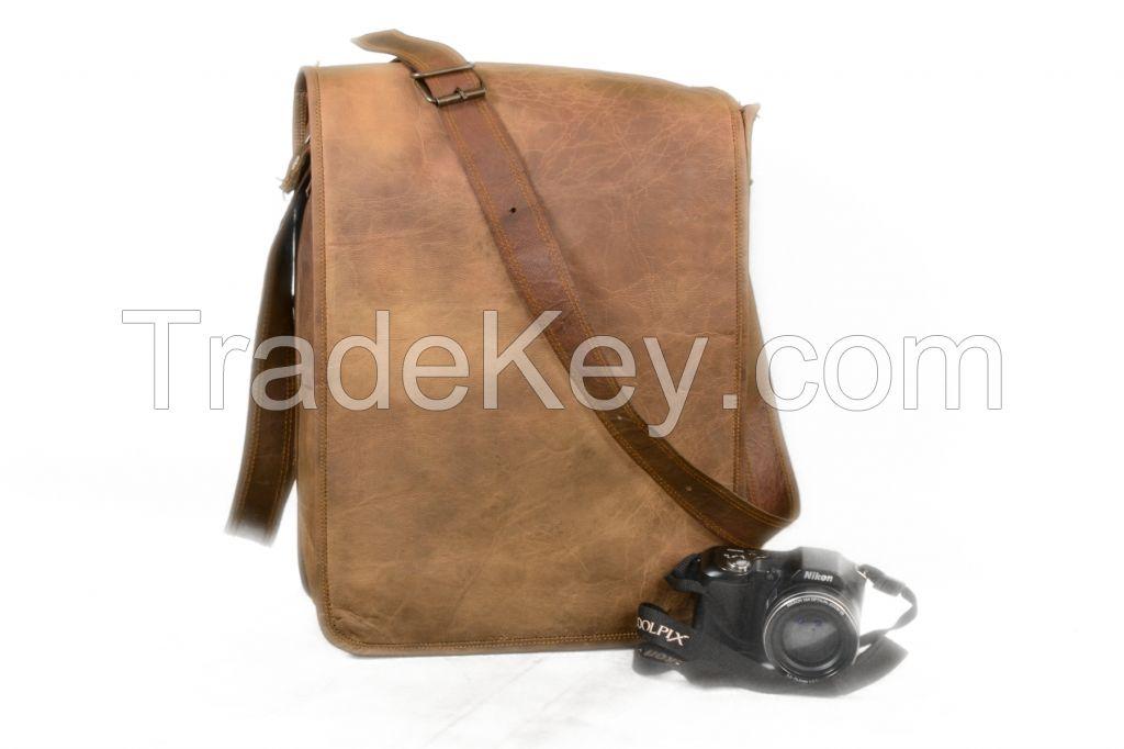 Real goa Vintage Leather Messenger Laptop Computer Briefcase Bag 16 Inch Brown