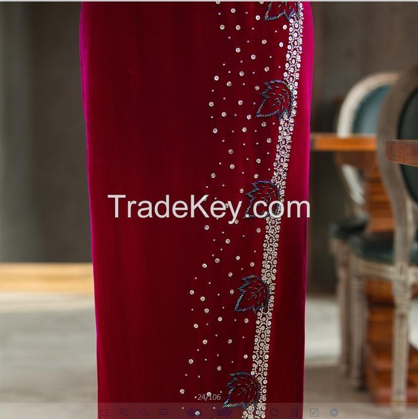 Fashion Elegant Vintage Handmade Beads Velvet Cheongsam/Vintage Qipao/