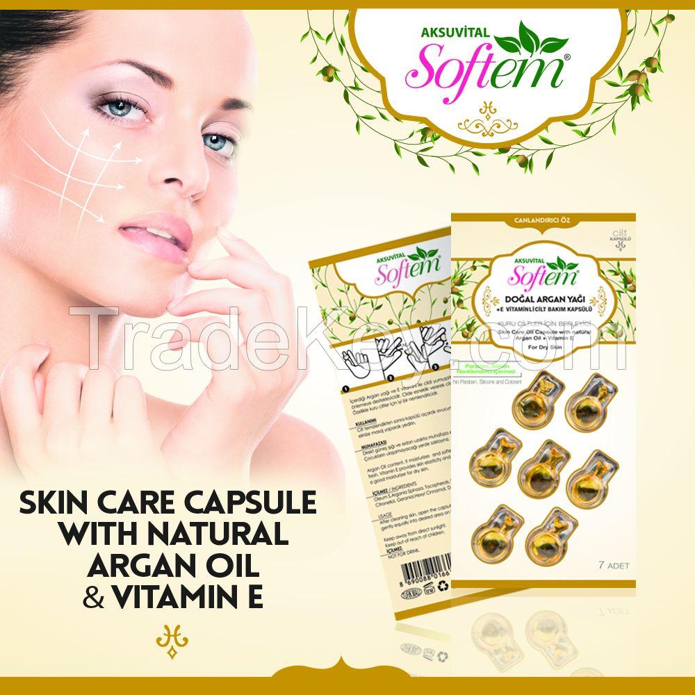 Herbal Skin Care Serum / Argan Oil and Vitamin E Best Capsule for Dry Skins Care