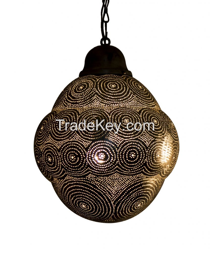 Intricate Silvery Moroccan Brass Hanging Lantern
