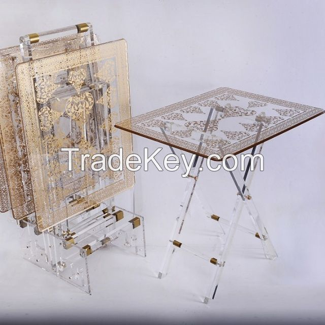 Acrylic coffee table, set of stand with 4 pcs tables