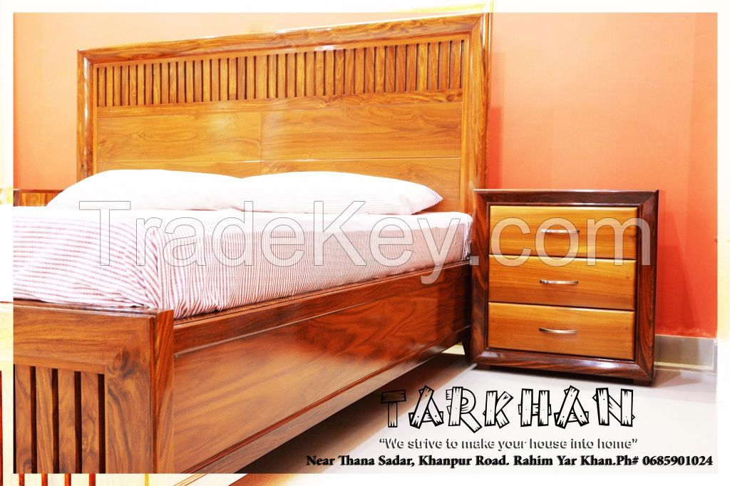 Rose Wood Full Solid Bedset