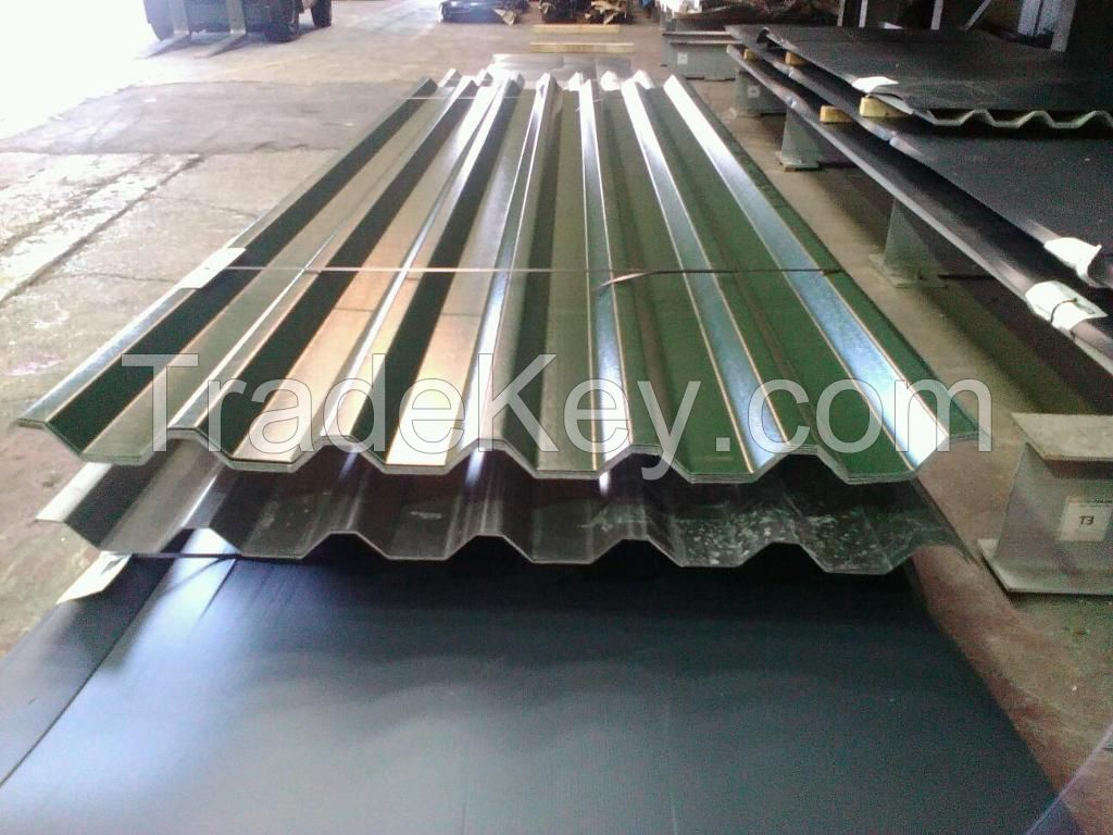 Galvanized prepainted profiled Metal Roof Sheet / Waved style steel sheeting