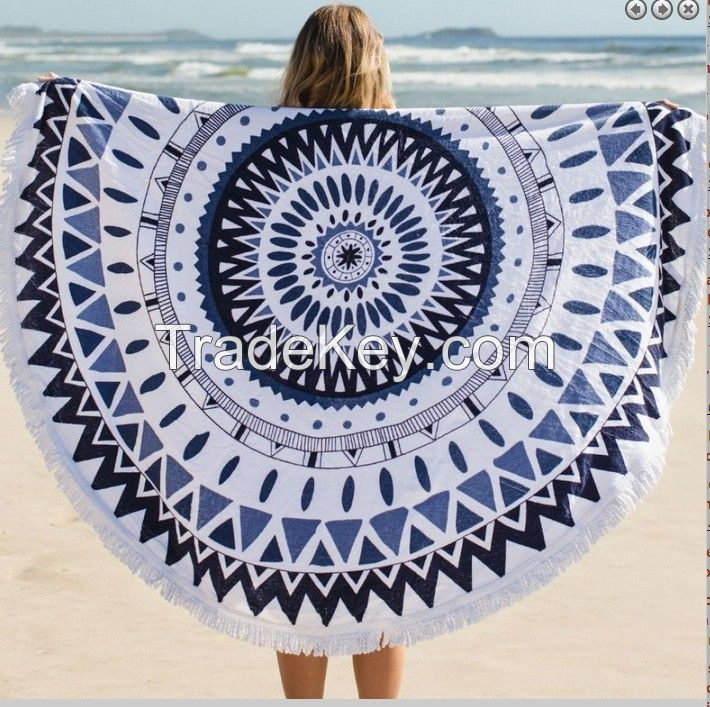 large round reactive printed beach towels