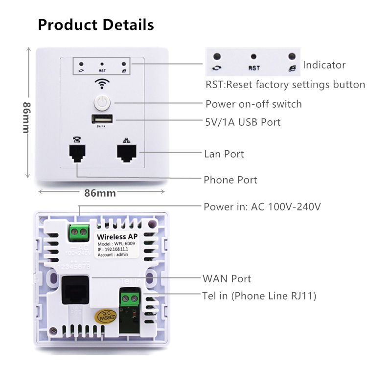 WPL6009 White AC100V-240V power supply wifi wireless routers repeater wall ap access point for hotel home