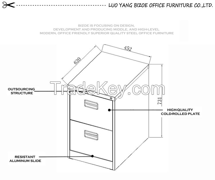 high quality office furniture black handle steel filing cabinet