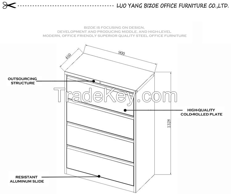 Chinese manufacturer anti-tilt office furniture steel chest
