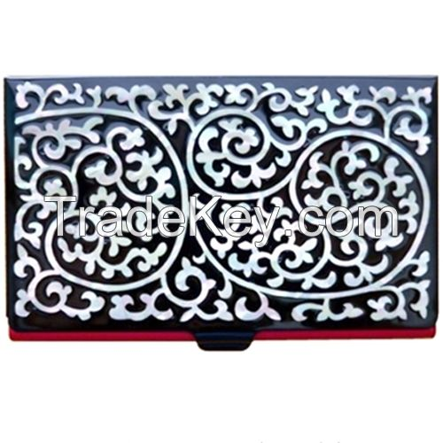 Business Card Holder Inlaid with Mother of Pearl Arabesque pattern Design