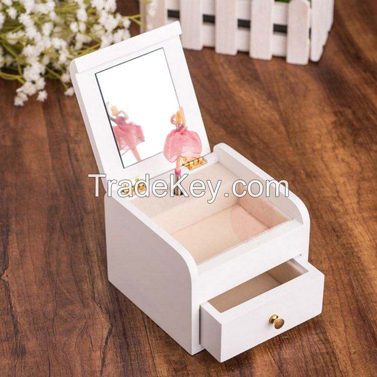 High quality white wooden ballerina jewelry music box with dancing girl