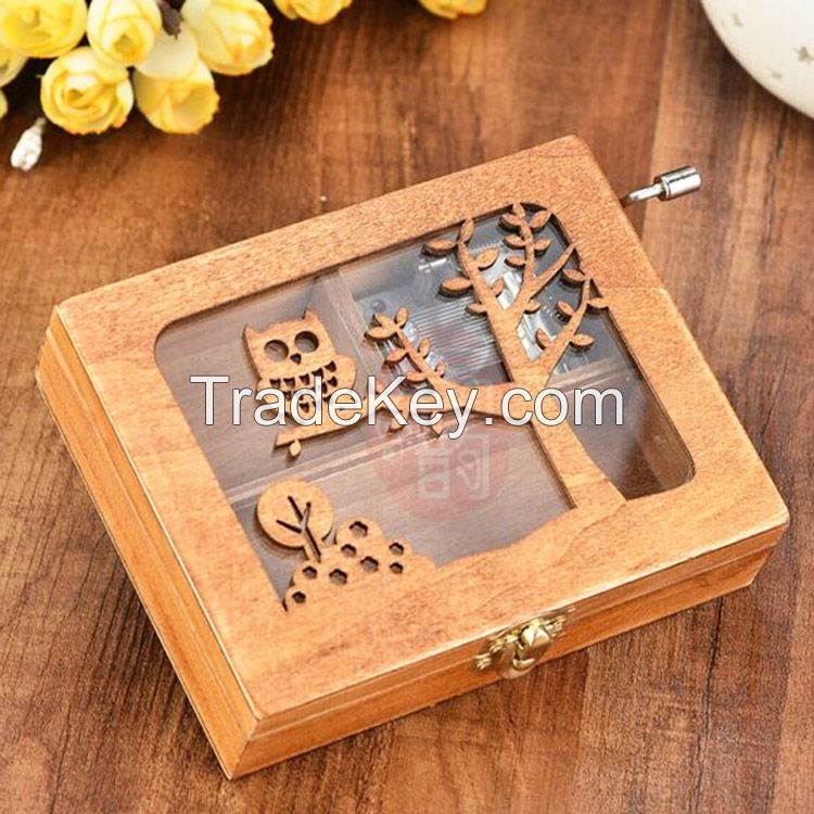 Antique carving wooden hand crank custom music box for HongKong brand